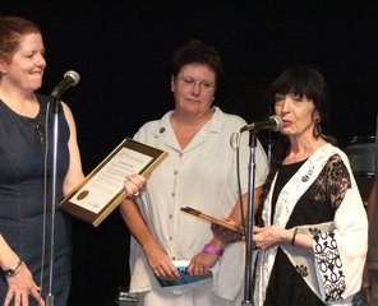 Jo Ann with Detroit Blues Society award 2005