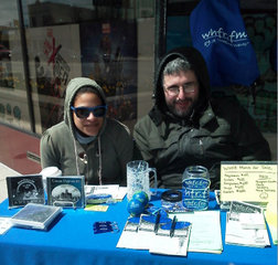 WHFR DJs greet customers at Stormy Records, 4-20-13